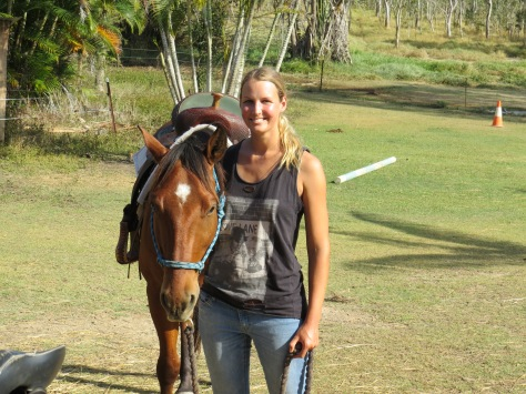 Volunteer and keen horse rider, Nicole about to head off on a ride on a nearby farm.