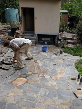 Finishing off the slate work to the outdoor loo