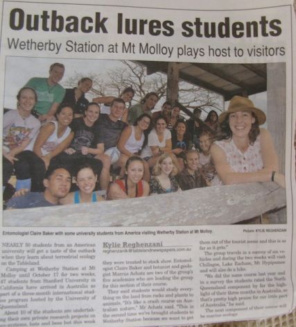 A news article from one of our Stanford trips to FNQ