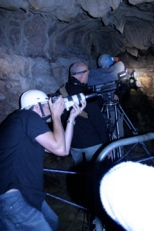 """Filming a piece to camera with Sir David presenting for """"Life in the Undergrowth"""""""